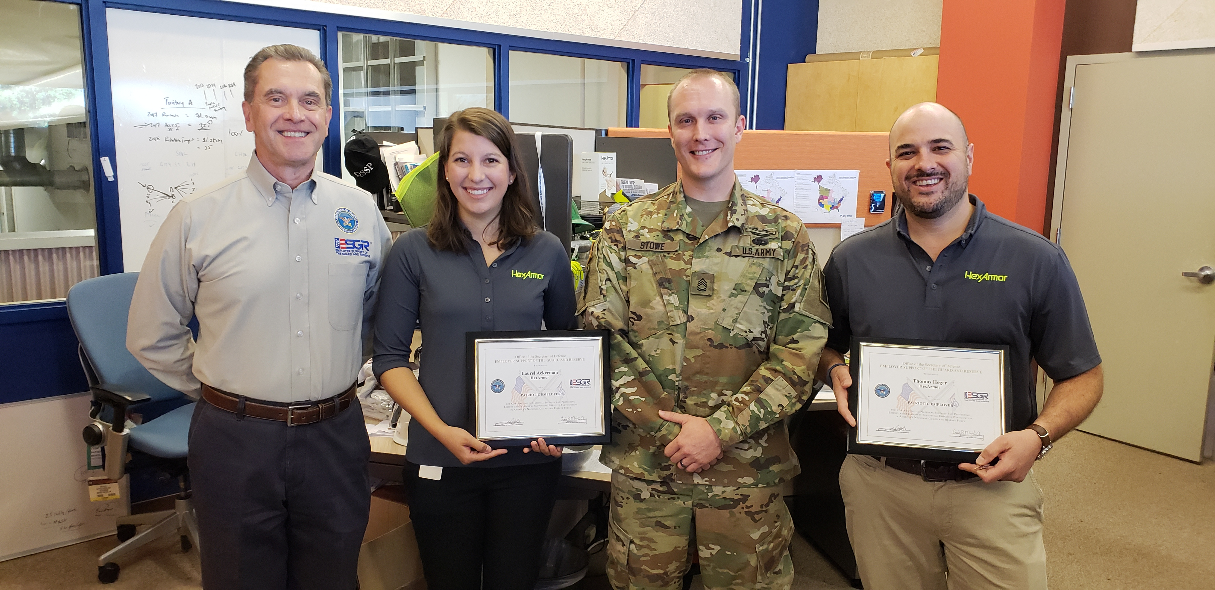 Two HexArmor Employees Honored with Patriot Award by Department of Defense Program