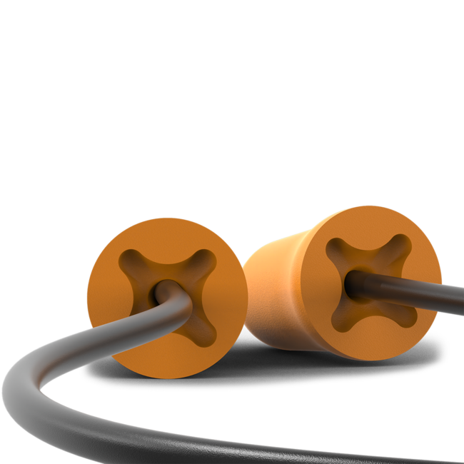 accuFit small disposable corded earplugs under view
