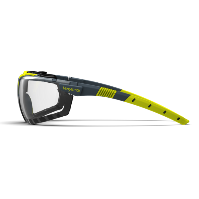vs300sg clear gasketed safety glasses side view